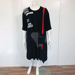 Schwarzes Sweat-Kleid mit rot-weißem Print und Details - Einheitsgröße
