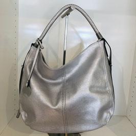 Silberne Handtasche / Beuteltasche