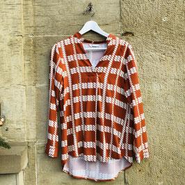 Gemusterte Bluse in Orange/Weiß und Rostrot/Weiß