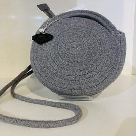 Runde graue Bast-Tasche zum Umhängen