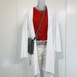 Weiße strukturierte Jersey-Jacke Größe XL