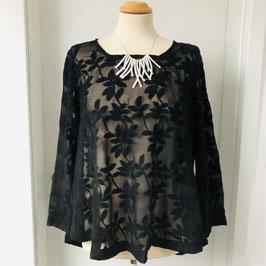 Schwarze transparente Masai Bluse mit aufgestickten Blumen- Größe XS