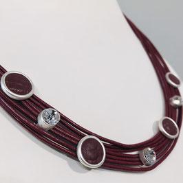 Rote Leder-Kette mit Strass-Elementen