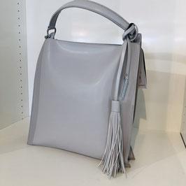 Hellgraue elegante Kunstledertasche mit Quaste
