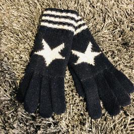 Handschuhe schwarz-weiß mit Stern und Streifen