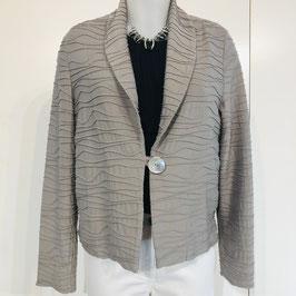 Beige-graue kurze strukturierte Jacke mit einem Knopf - Größe S
