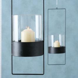 Windlicht zum Hängen schwarz/Glas in 2 Größen