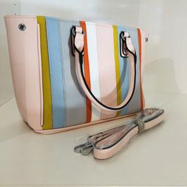 Rosa-farbene Tasche mit Streifen