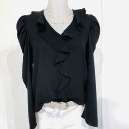 Dunkelgraue Chiffon-Bluse Größe S/M
