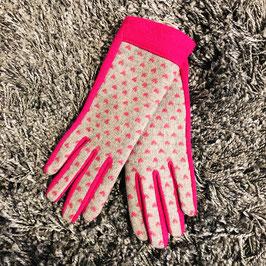 Handschuhe pink / grau mit Herzchen
