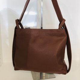 2 in 1: Rucksack und Tasche aus weichem Leder - dunkelbraun
