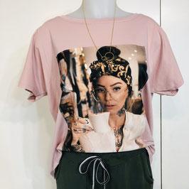 T-Shirt mit Print in 2 Farb-Varianten - Rosa, Pink und Creme