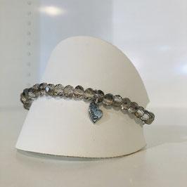 Graues Armband mit Herz-Anhänger in 4 Varianten