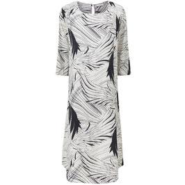 Masai Kleid weiß-schwarz mit Blätter-Print