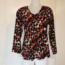 Rot-schwarz-braune Masai-Bluse in XS