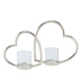 Silbernes Windlicht in Herz-Form mit Glas-Einsatz