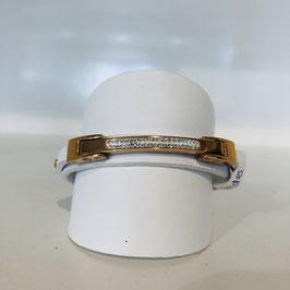Leder-Armband weiß / Rosegold 2 Lagen