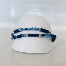 Arband blau 2-reihig in verschiedenen Blau-Tönen