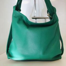 2 in 1: Rucksack und Tasche aus weichem Leder - grün