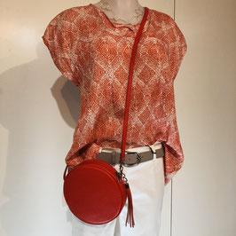 Orange-weiße Masai Bluse Größe XS im Oversize Schnitt