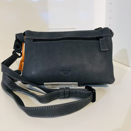 Dunkelgraue Echtleder-Tasche zum Umhängen mit Reißverschluss vorne von VOI