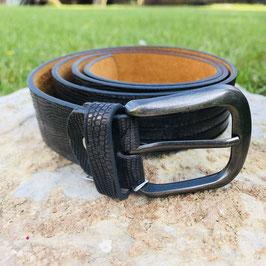 Dunkelgrauer Gürtel mit Prägung - 95 cm