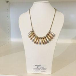 3-farbie Halskette mit länglichen Elementen: gold, rosegold und silber, flexibel kombinierbar