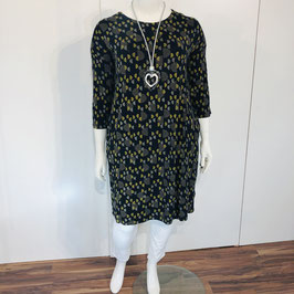 Gemustertes Adini-Kleid - schwarz mit grau-senfgelbem Print