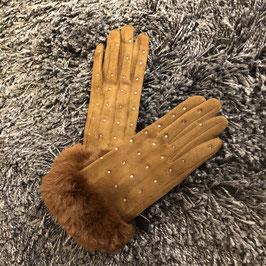Handschuhe camel mit Strass