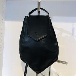 Schwarze ausgefallene Tasche von VOI aus schwarzem Glattleder mit Kurzgriff und langem Gurt zum Umhängen