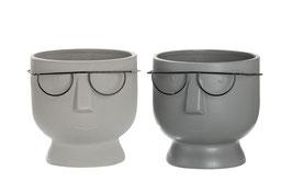 Keramik-Pflanztopf Gesicht mit Brille in Grau in 2 Tönen