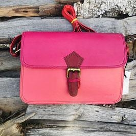 Längliche Ledertasche mit magnetischer Schließe in 2 Varianten - Pink oder Hellbraun