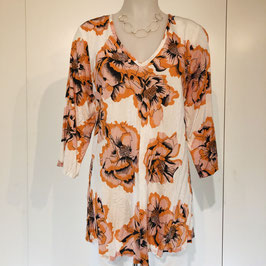 Weiß-orange-farbene Masai-Bluse mit Print Größe S