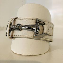 Weißes Leder-Armband mit silberner Schnalle