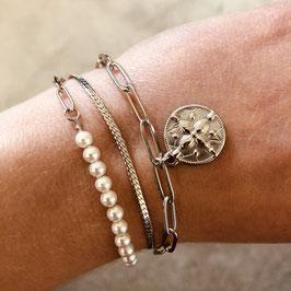 Silbernes Edelstahl Armband mit Münz-Anhänger