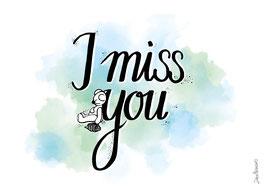"Postkarte ""I miss you"""""