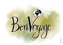 """Postkarte """"Bon Voyage"""""""