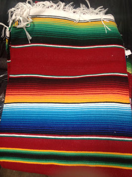 5' x 7' Mexican Serape Blanket Red