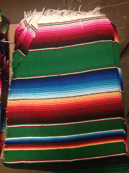 5' x 7' Mexican Serape Blanket Green
