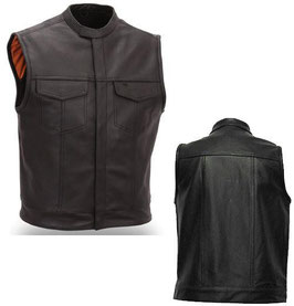 Club Leather Vest, Black