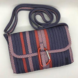 Shoulder Bag MINI blau/gemustert//rot