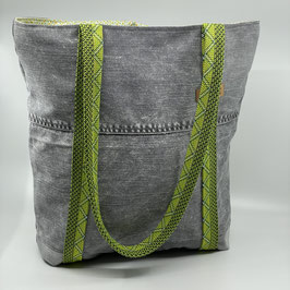 Shopping Bag Jeans grau/grün