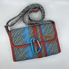 Shoulder Bag MINI gemustert/türkis/rot