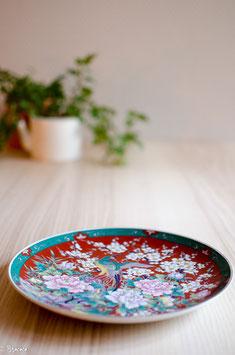 Assiette chinoise bordeaux