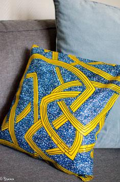 Coussin carré bleu et jaune