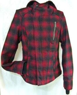 Winterjacke Fresh Made schwarz/rot kariert Gr. XS,S,M,XL