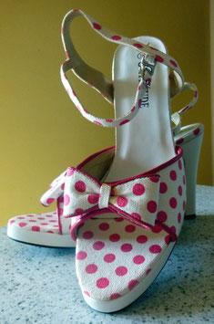 Sandaletten Gr.38 Polka Dots weiß-pink