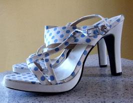Sandaletten Gr.41 Polka Dots weiß-blau