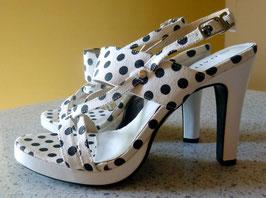 Sandaletten Gr.39,40 Polka Dots weiß-schwarz