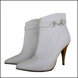Weiße Stiefeletten - Stilettos in Spiegelglanz